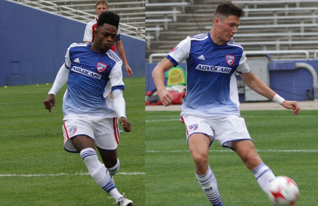 Ronaldo Damus (left) and Brecc Evans (right) play for the FC Dallas U19s in the 2018 Dallas Cup at the Cotton Bowl against Arsenal FC.