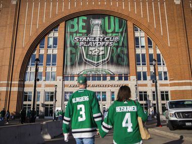 Stanley Cup Playoffs signs are displayed outside of American Airlines Center before Game 3 of a playoff series between the Dallas Stars and the Nashville Predators on Monday, April 15, 2019 in Dallas.