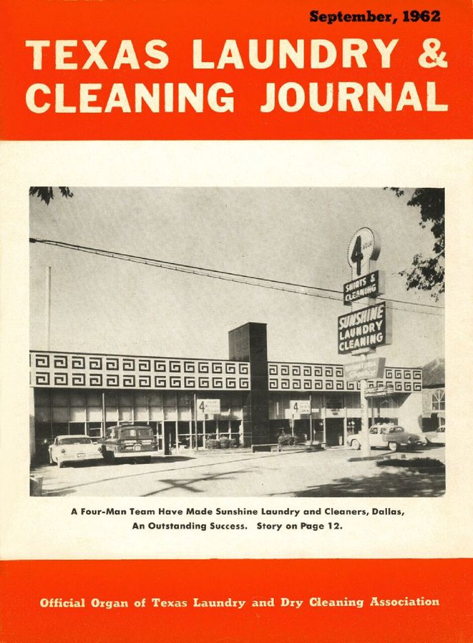 Sunshine Laundry and Dry Cleaners made the cover of the September 1962 Texas Laundry & Cleaning Journal.
