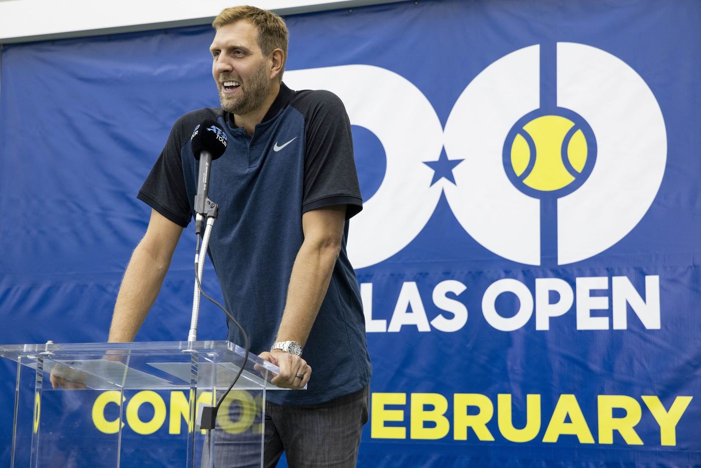 Dallas Mavericks star Dirk Nowitzki speaks during a press conference to announce a new ATP tennis tour event coming to Dallas at the SMU Styslinger/Altec Tennis Complex on Wednesday, May 19, 2021, in Dallas. (Juan Figueroa/The Dallas Morning News)