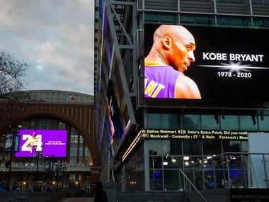 Large screens display a tribute to former Los Angeles Laker Kobe Bryant and his daughter, Gianna Bryant, before an NBA game between the Dallas Mavericks and the Phoenix Suns on Tuesday, January 28, 2020 at the American Airlines Center in Dallas.