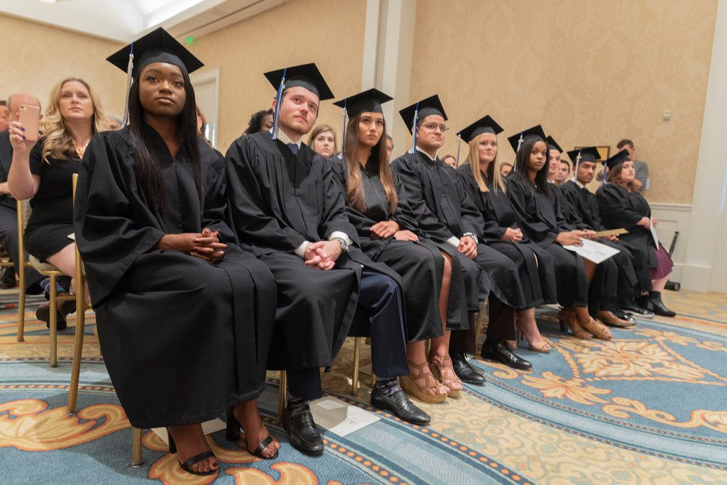 The Alcuin School's first graduating class during commencement services at the Belo Mansion on Thursday, May 24, 2018.