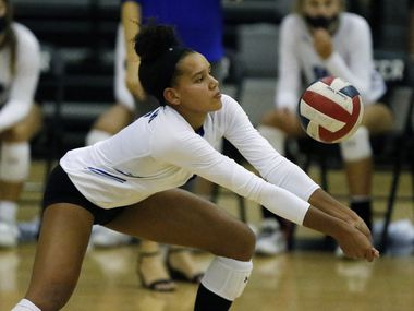 Denton Guye's Kyndal Stowers makes a pass during a match against Flower Mound on September 22, 2020. (Stewart F. House/Special Contributor)