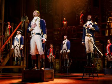 Joseph Morales, starring as the title character, leads a fine cast in the touring production of Hamilton that just opened in Dallas.