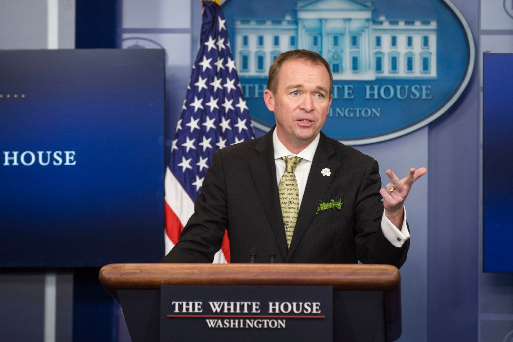 Mick Mulvaney, the White House budget director, speaks about President Donald Trump's $1.1 trillion spending plan during the daily press briefing at the White House in Washington, March 16, 2017. (Al Drago/The New York Times)
