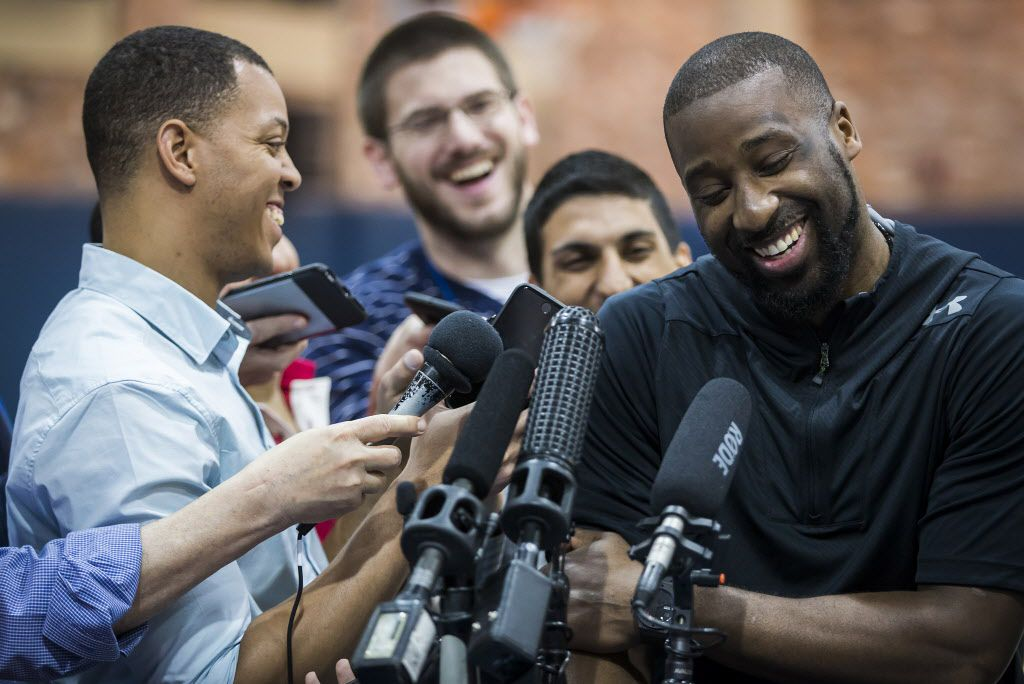Dallas Mavericks guard Raymond Felton laughs with reporters as the team conducts exit interviews at American Airlines Center on Tuesday, April 26, 2016, in Dallas. Members of team met with reporters on the day after a loss to  Oklahoma City in the first round of the NBA payoffs ended their season. (Smiley N. Pool/The Dallas Morning News)