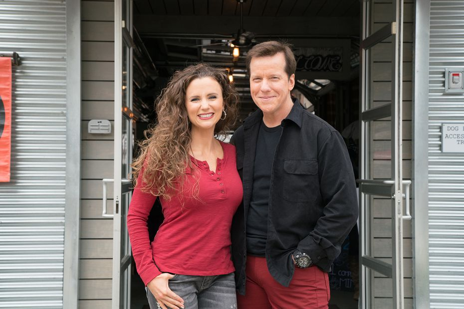 """Audrey and Jeff Dunham are pictured outside Woodshed Smokehouse, as seen on """"Incredible Edible America."""""""