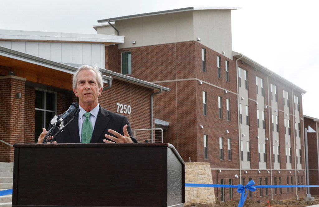 UNT Dallas Chancellor Lee Jackson speaks at the University of North Texas at Dallas grand opening for the first residence hall on Thursday, August 3, 2017. The $8.1 million-residence hall has 120 beds. (David Woo/The Dallas Morning News)