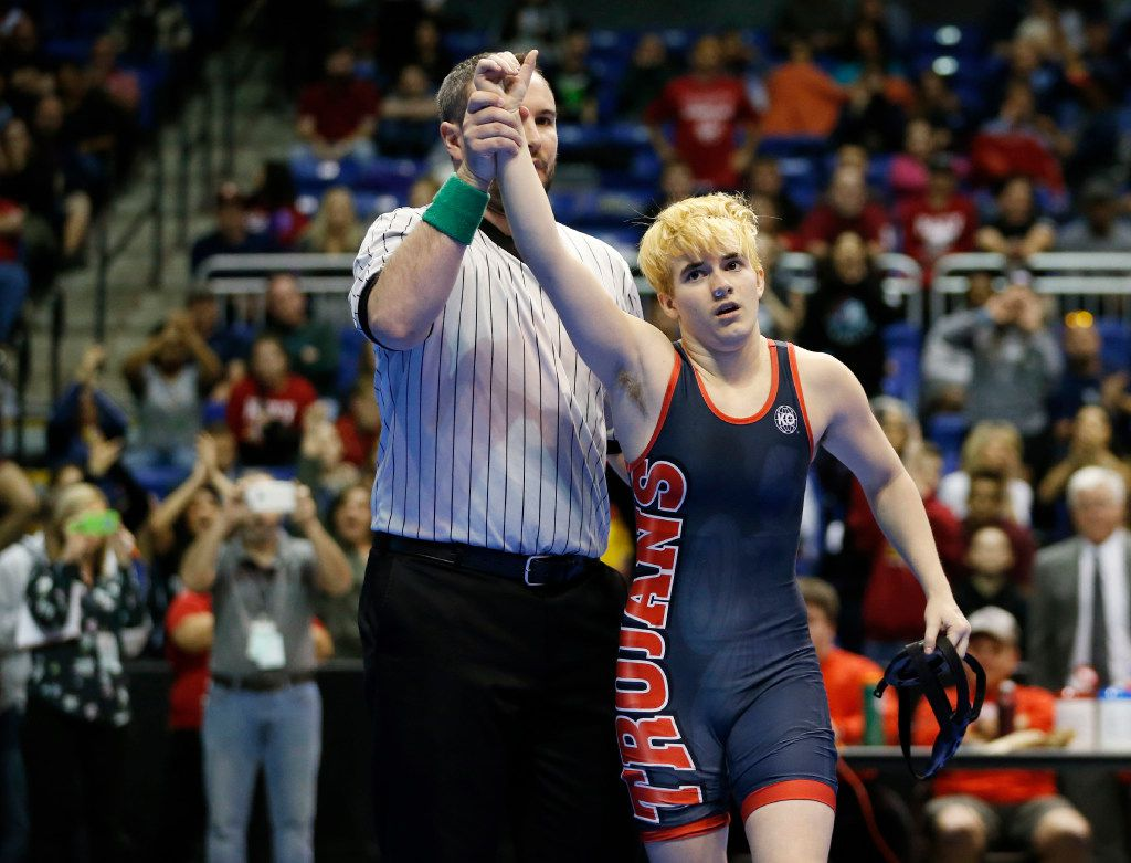 Euless Trinity's Mack Beggs after defeating Katy Morton Ranch's Chelsea Sanchez in the championship match of the 6A girls 110 weight class during the UIL Wrestling State Tournament at Berry Center in Cypress on Saturday, February 25, 2017. Beggs defeated Sanchez to win the championship. (Vernon Bryant/The Dallas Morning News)