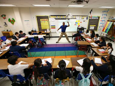 Josue Tamarez Torres teaches his fifth-grade bilingual class at Annie Webb Blanton Elementary in Dallas. Blanton Elementary is one of Dallas ISD's ACE schools, and Torres' work earned him DISD elementary teacher of the year.