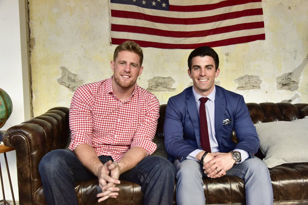 Houston Texan defensive end J.J. Watt (left) is brand ambassador for Mizzen+Main, a Dallas menswear retailer started by SMU graduate Kevin Lavelle.