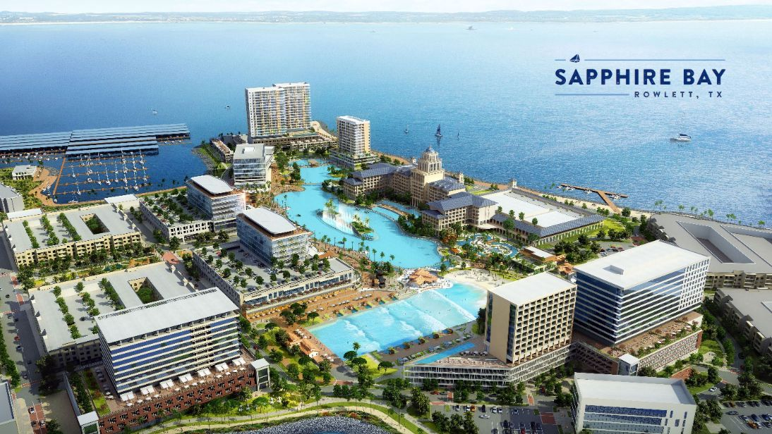 The Sapphire Bay development on Lake Ray Hubbard includes a crystal lagoon and wave pool.