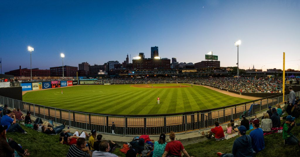 The Saints AAA baseball team plays at the new CHS Field in St. Paul's Lowertown.