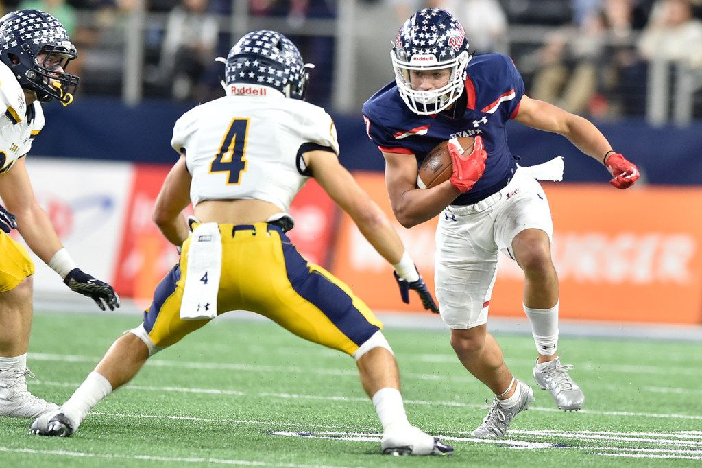 FILE - Ryan freshman wide receiver Billy Bowman Jr. (7) catches a pass from Ryan senior quarterback Spencer Sanders (3), while being defended by Highland Park senior Zak Folts (4) at AT&T Stadium, Friday, December 15, 2017, in Arlington, Texas, Jeff Woo/DRC