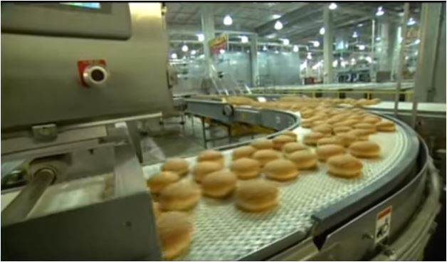 Buns rolling through a Flowers Foods bakery showing how buns are produced. This scene is from a company promo video on YouTube.