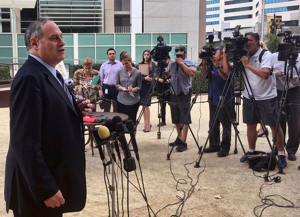American Civil Liberties Union attorney Lee Gelernt addressed reporters after a hearing in San Diego on Monday, July 9, 2018. More than 50 immigrant children under age 5 are expected to be reunited with their parents by Tuesday's court-ordered deadline for action by the Trump administration, and the families will then be released into the U.S., a government attorney said Monday. That's only about half of the 100 or so toddlers covered by the order. (AP Photo/ Elliot Spagat)