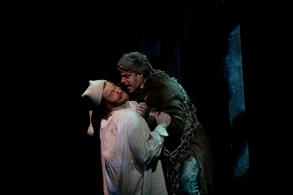 Alex Organ plays Ebenezer Scrooge to Drew Wall's Jacob Marley in Dallas Theater Center's 'A Christmas Carol' at the Wyly Theatre.. In 2015, Organ played Jacob Marley to Hassan El-Amin's Scrooge for Dallas Theater Center.