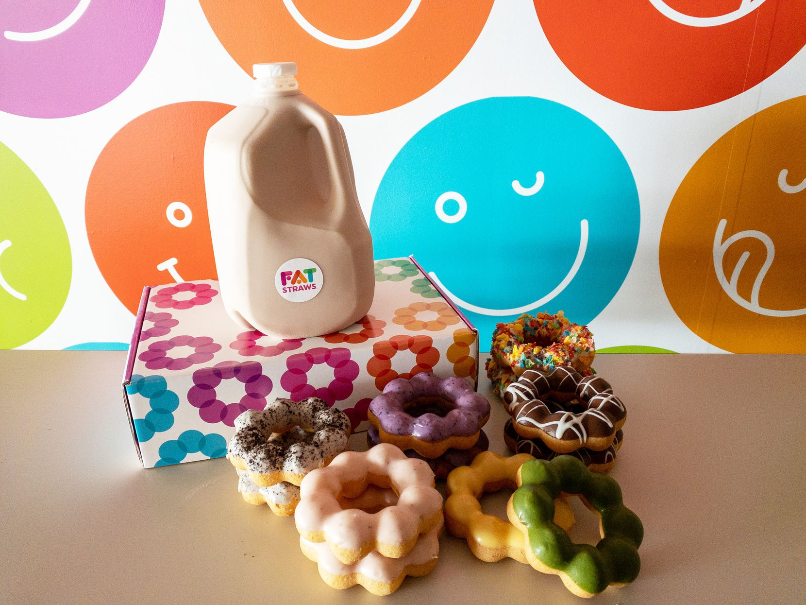 Fat Straws offers Smile Pack orders for $50 that include 1 gallon of tea or coffee and a dozen Chewy Puffs.
