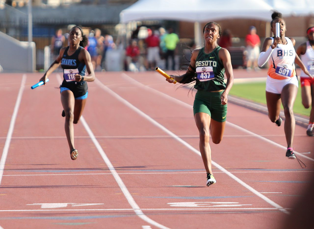 Logan Neely of DeSoto crosses the finish line in first place at the 6A Girls 4x200 meter relay during the UIL state track meet at the Mike A. Myers Stadium, at the University of Texas on May 8, 2021 in Austin, Texas.