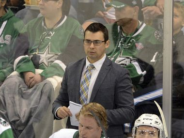 Texas Stars coach Neil Graham watches action during a game against the Tucson Roadrunners on October 04, 2019, at the HEB Center in Cedar Park, TX.