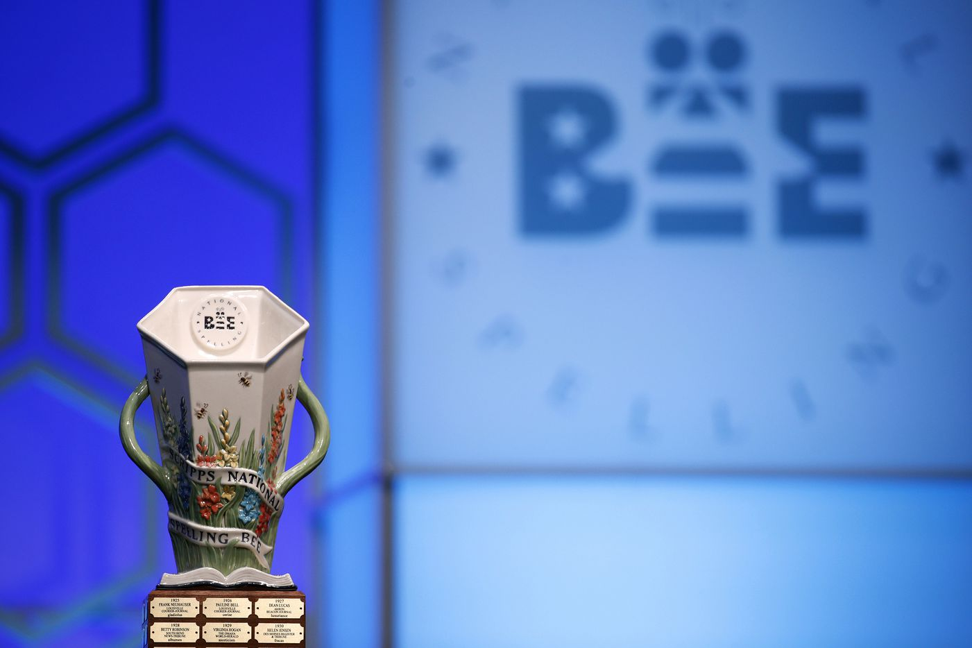 The Scripps National Spelling Bee trophy is displayed before the final round, Thursday, May 30, 2019, in Oxon Hill, Md. (AP Photo/Patrick Semansky)