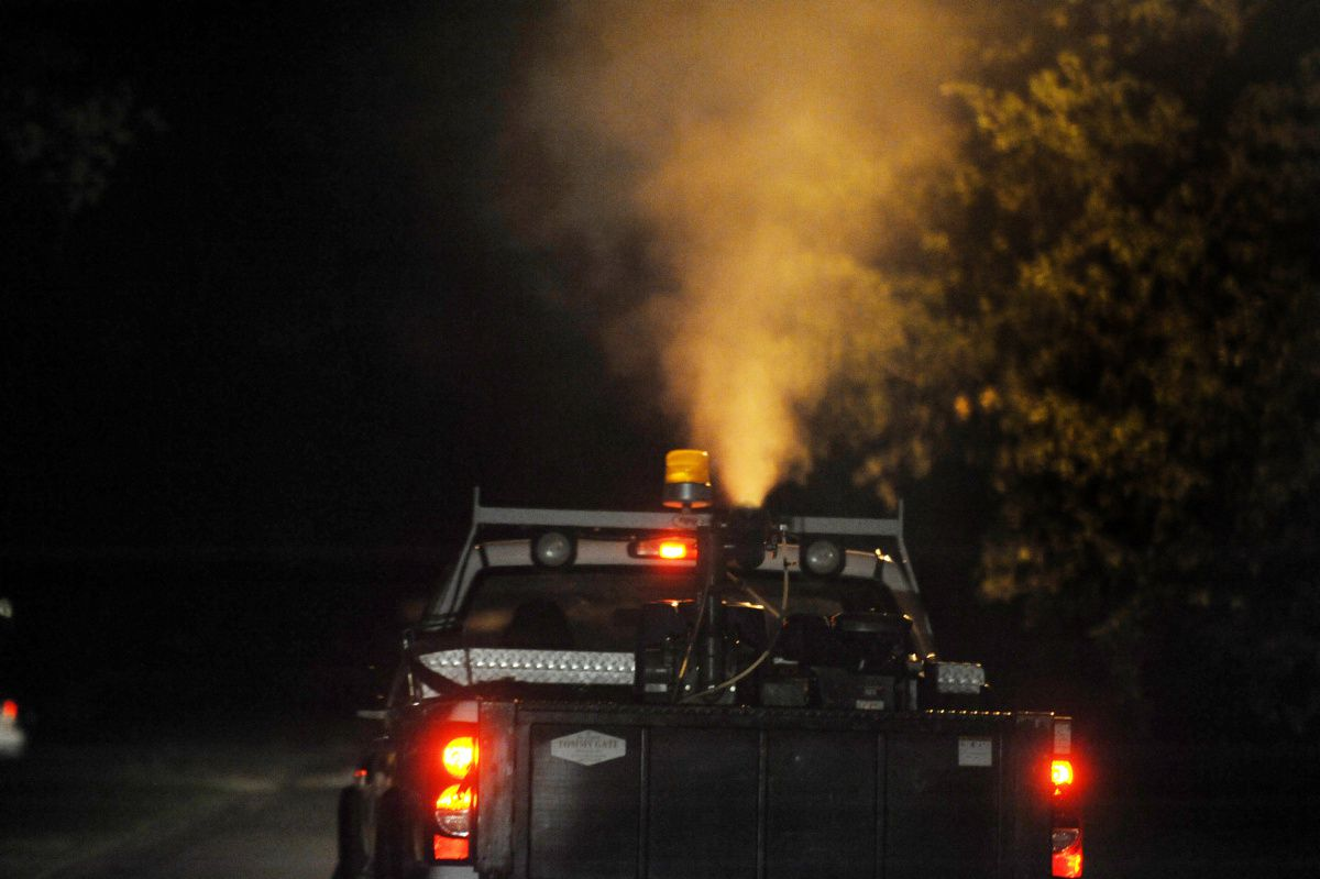 A truck sprays for mosquitoes in Dallas in this 2019 file photo.