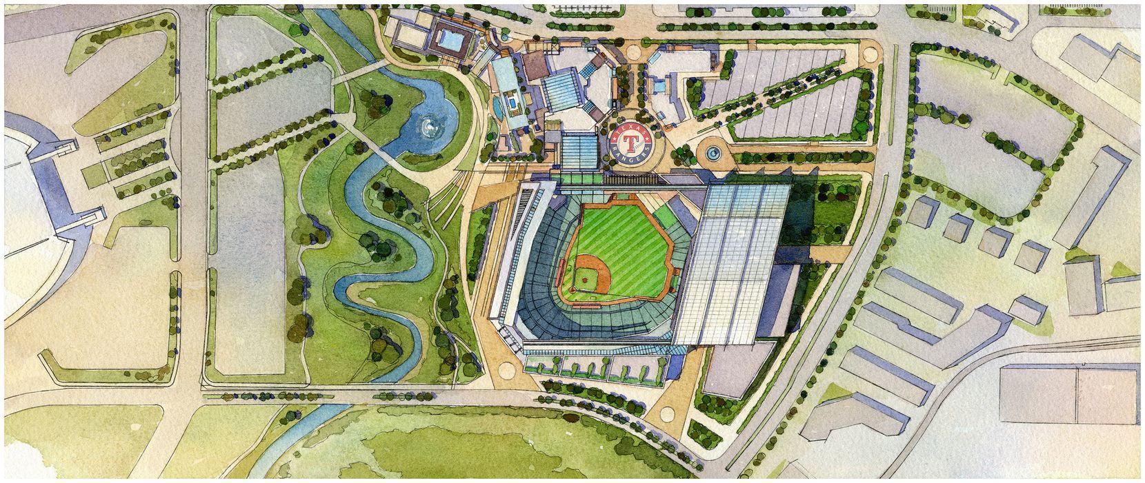 Planned Texas Rangers stadium.