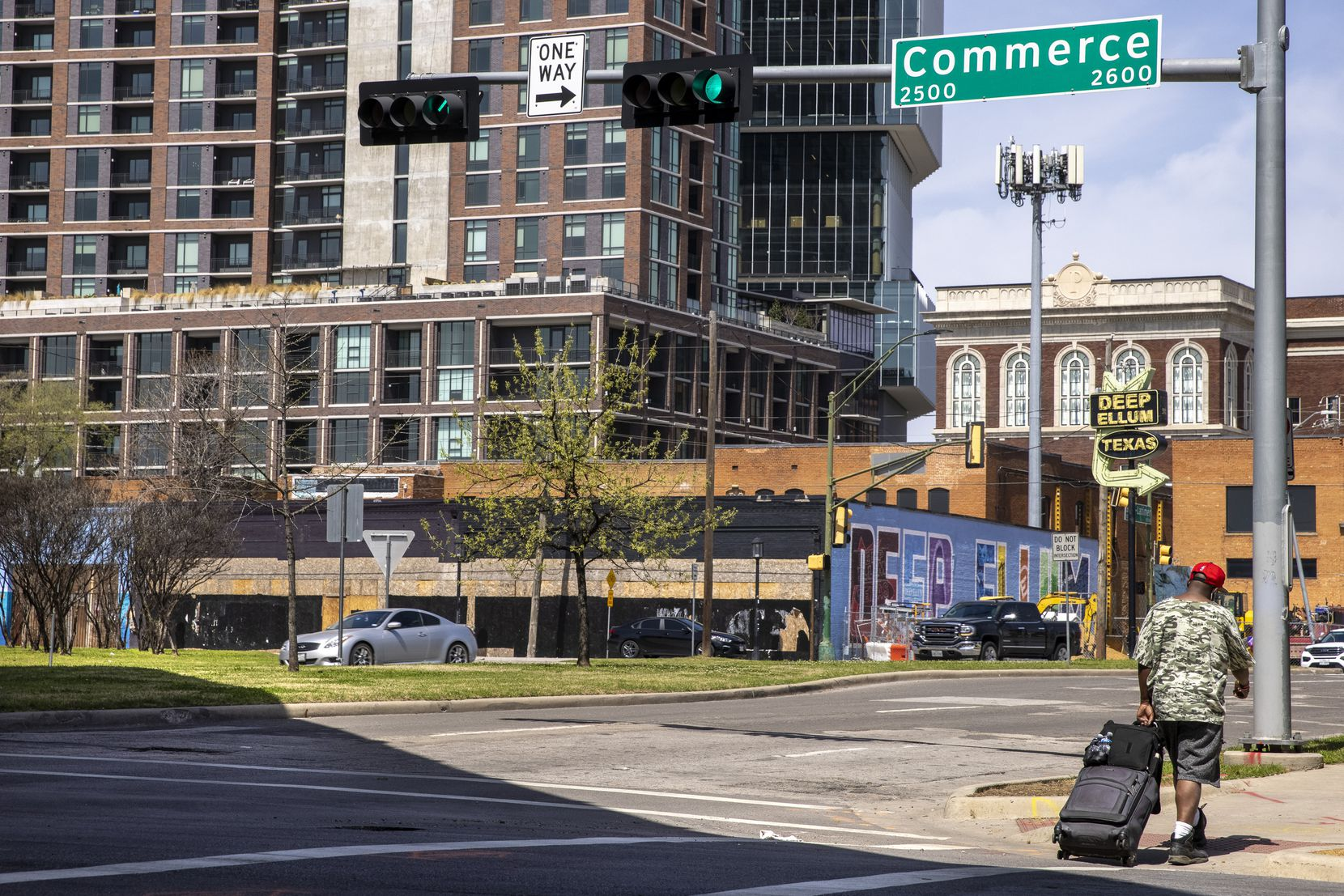 Commerce Street in the Deep Ellum neighborhood on Wednesday, March 24, 2021, in Dallas. City Council is considering a DART line that would run through Commerce Street. (Lynda M. González/The Dallas Morning News)