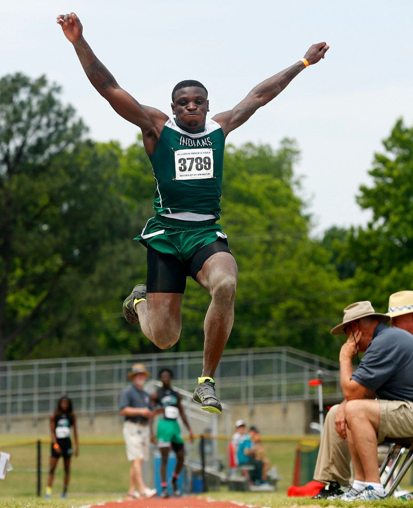Waxahachie long jumper Jalen Reagor competes in the preliminary round of the 5A Region II meet at Maverick Stadium in Arlington, Texas, Friday, April 28, 2017. (Tom Fox/The Dallas Morning News)