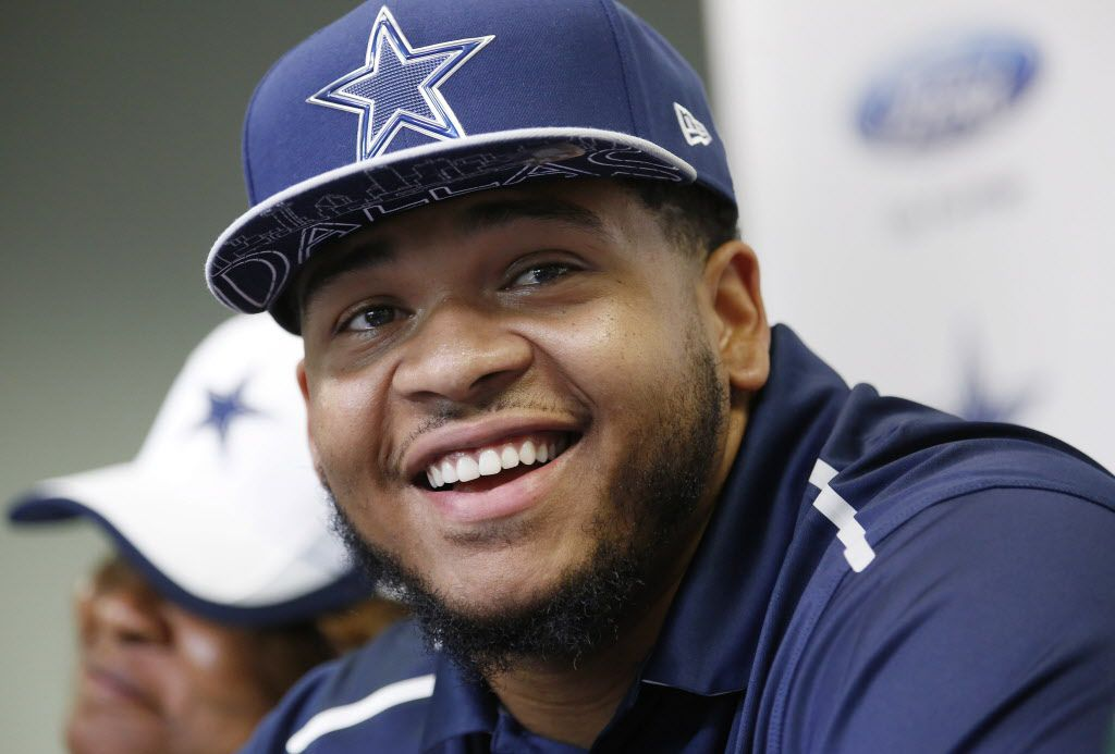 Former LSU offensive lineman La'el Collins speaks to the media during a press conference to introduce him as a member of the Dallas Cowboys at Cowboys headquarters in Irving, Texas Thursday May 7, 2015. (Andy Jacobsohn/The Dallas Morning News)