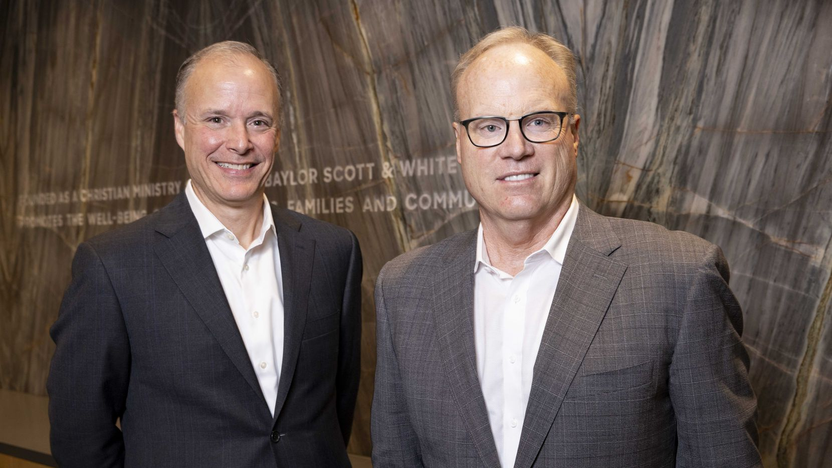 Pete McCanna, left, will step up from president to CEO of Baylor Scott & White Health, after Jim Hinton, right, retires at the end of the year. Baylor trustees called Hinton a transformational leader, and one of his early moves was to recruit McCanna from Northwestern Memorial Healthcare in Chicago.