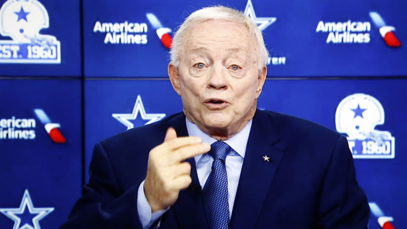 Cowboys owner and general manager Jerry Jones speaks during the annual state of the team news conference conducted virtually on Wednesday, Aug. 12, 2020. (Screenshot of virtual press conference)