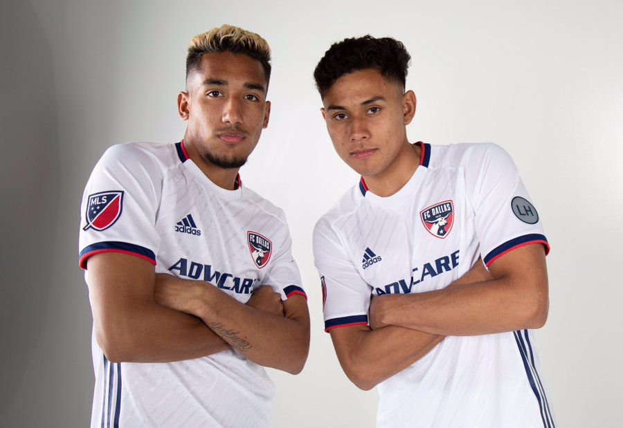 Jesus Ferreira (left) and Edwin Cerrillo (right) both just 18 pose in the new FC Dallas secondary kit for 2019.