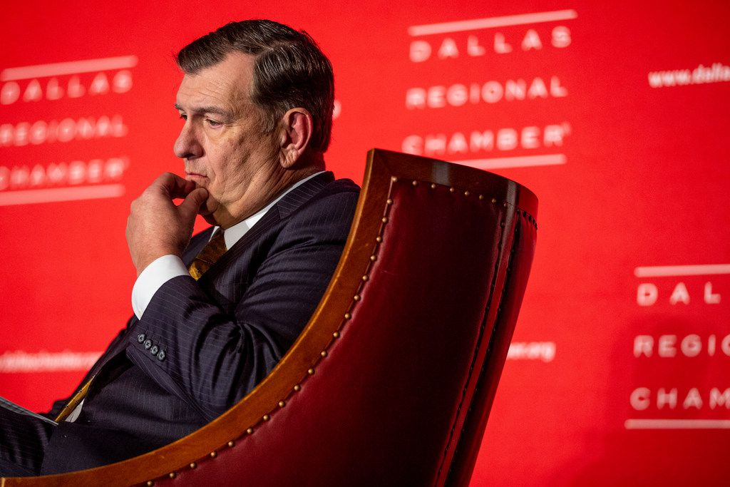 Dallas Mayor Mike Rawlings listens as he converses with DMN deputy editorials editor Rudy Bush on stage during Rawlings final State of the City address at the Dallas Regional Chamber luncheon at the Hyatt Regency Dallas on Tuesday, December 4, 2018. (Shaban Athuman/The Dallas Morning News)