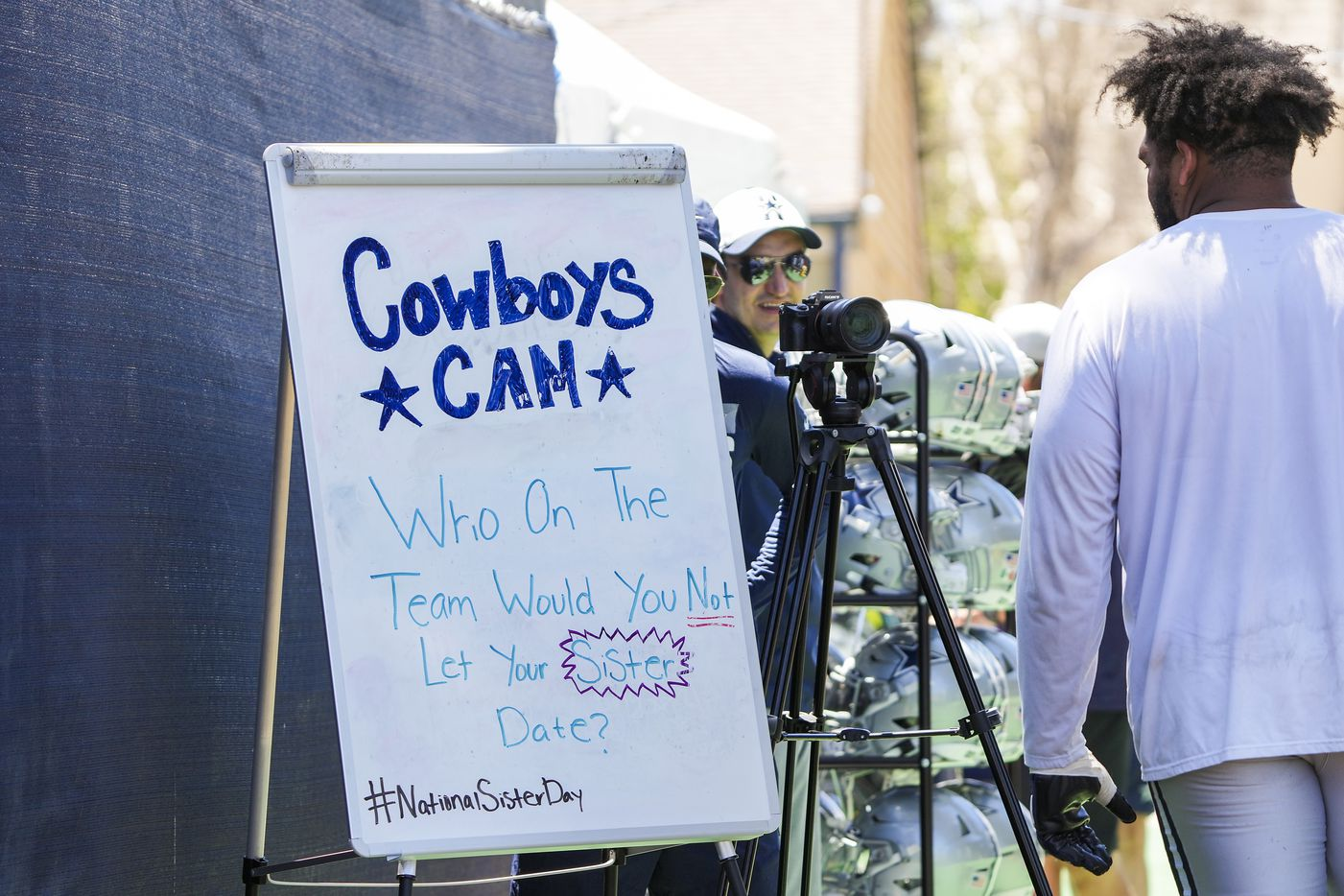Dallas Cowboys tackle La'el Collins stops ponder a video question on his way off the field following a practice at training camp on Sunday, Aug. 1, 2021, in Oxnard, Calif.