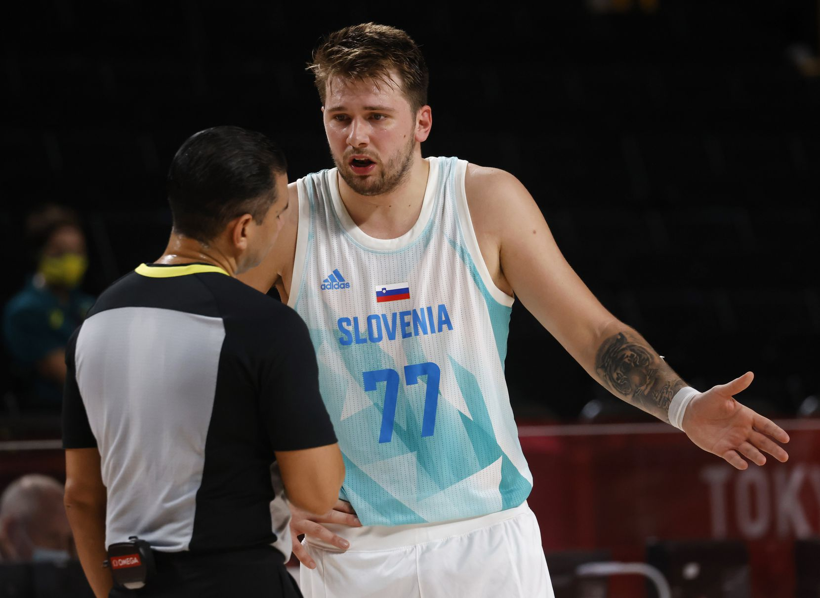 Slovenia's Luka Doncic (77) questions an official after a play in a game against Australia during the second quarter of play in the bronze medal basketball game at the postponed 2020 Tokyo Olympics at Saitama Super Arena, on Saturday, August 7, 2021, in Saitama, Japan. (Vernon Bryant/The Dallas Morning News)