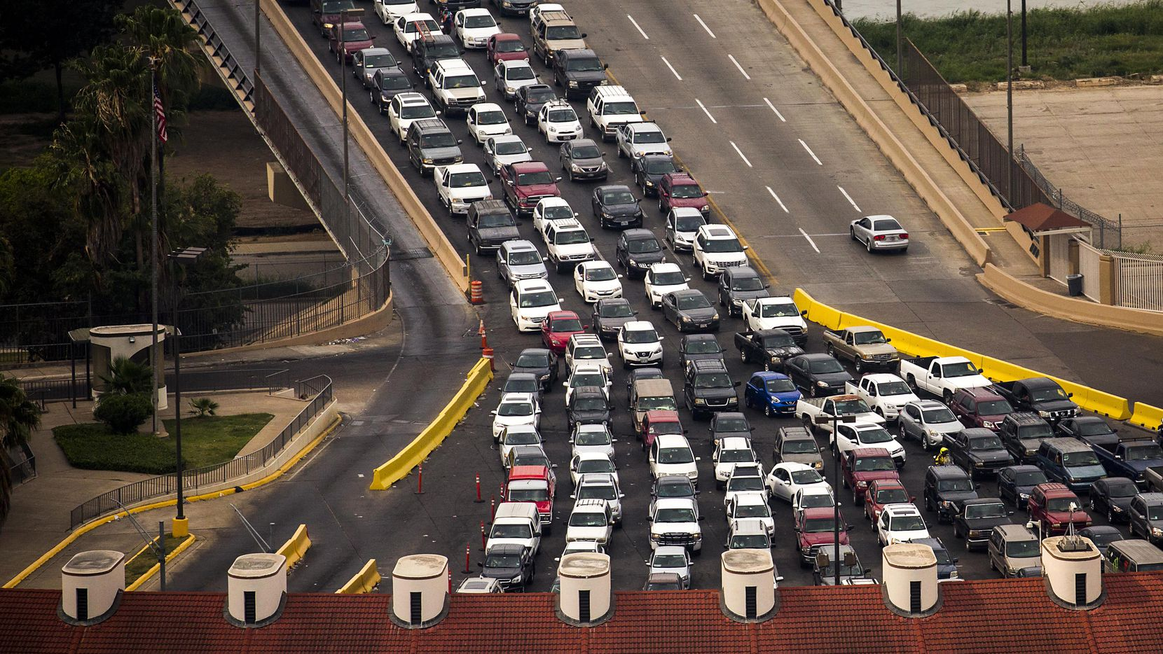 Vehicles wait on the Juarez-Lincoln International Bridge to enter the United States from Mexico on May 11, 2017.