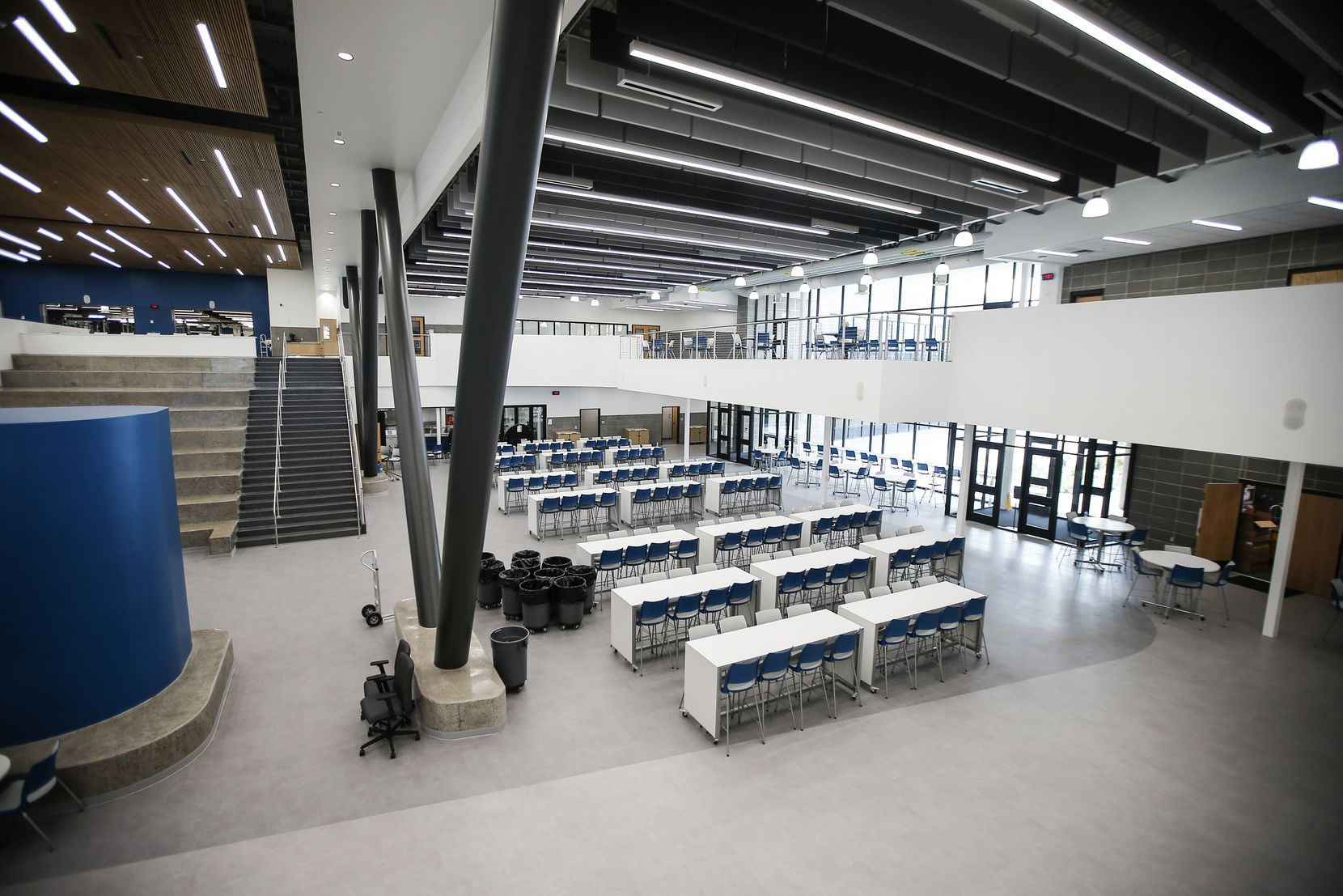 The main entrance at Vanguard High School doubles as an open concept cafeteria, in Mesquite.