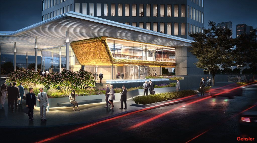 New owners of the 400 Record tower in downtown Dallas — formerly the Belo Building — are remodeling the high-rise with a large restaurant on the second floor facing Young Street and the Omni Hotel