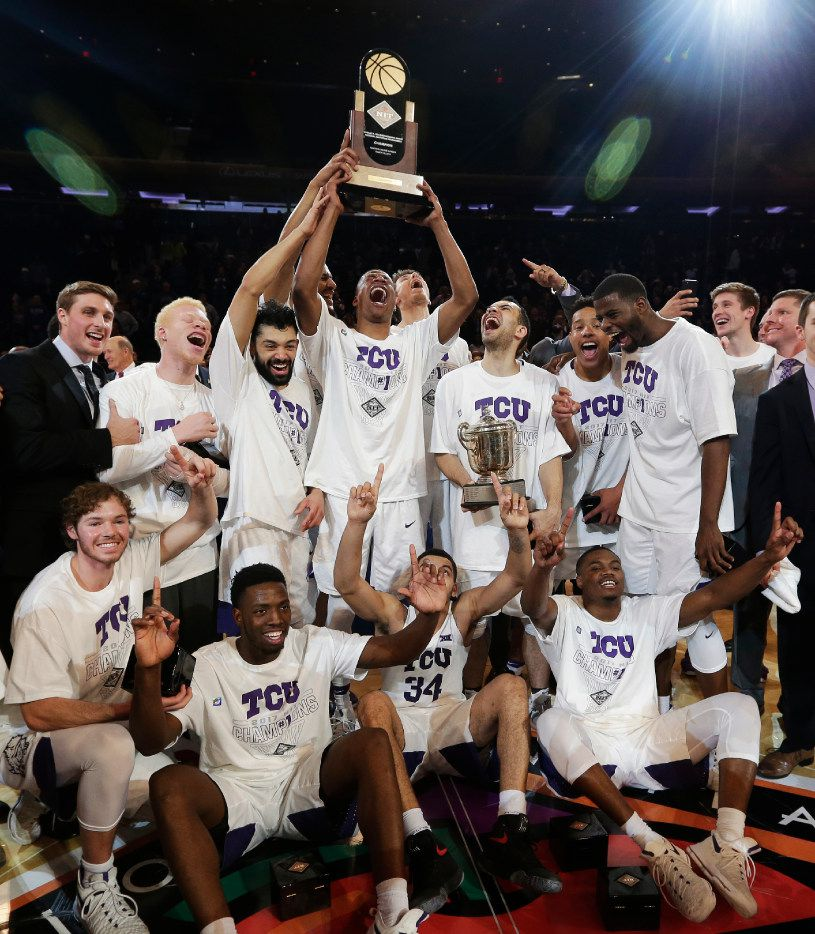 The TCU men's basketball team celebrates after beating Georgia Tech in the NIT final Thursday night at Madison Square Garden in New York.