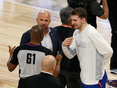 Team LeBron's assistant coach Jason Kidd and Luka Doncic talk with an official during a break in play in a game against Team Giannis in the NBA All-Star 2020 game at United Center in Chicago on Sunday, February 16, 2020. Team LeBron defeated Team Giannis 157-155.