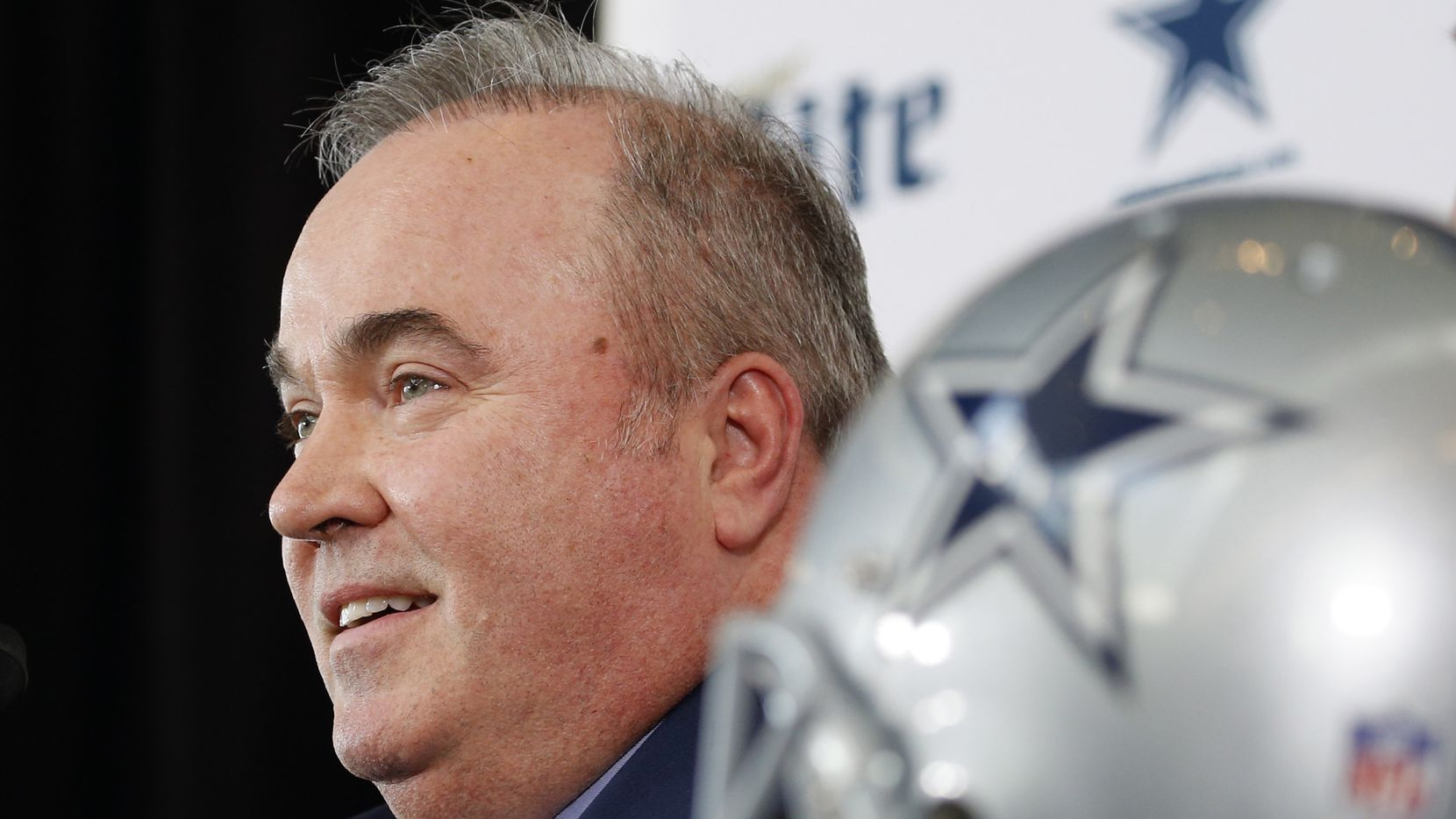 FILE — Dallas Cowboys new head coach Mike McCarthy speaks during a press conference announcing his position in the Ford Center at The Star in Frisco, on Wednesday, January 8, 2020.