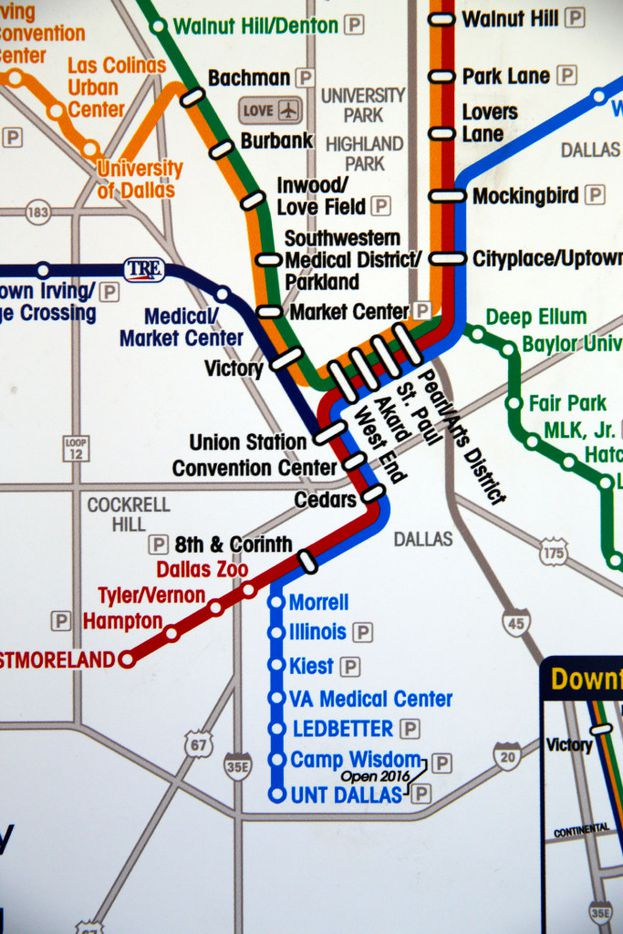 A DART map shows the new Camp Wisdom and UNT Dallas stations on the Blue Line.