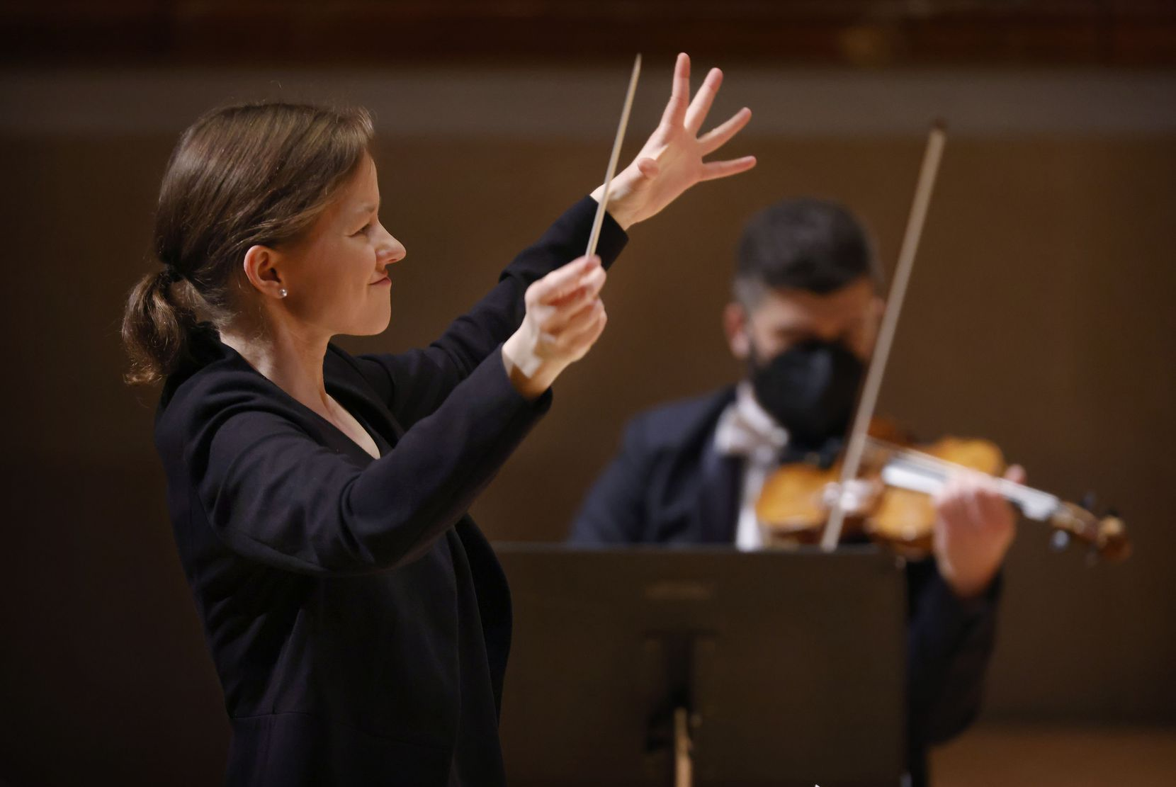 Assistant conductor Katharina Wincor leads the Dallas Symphony Orchestra in Copland's 'Appalachian Spring' Suite.
