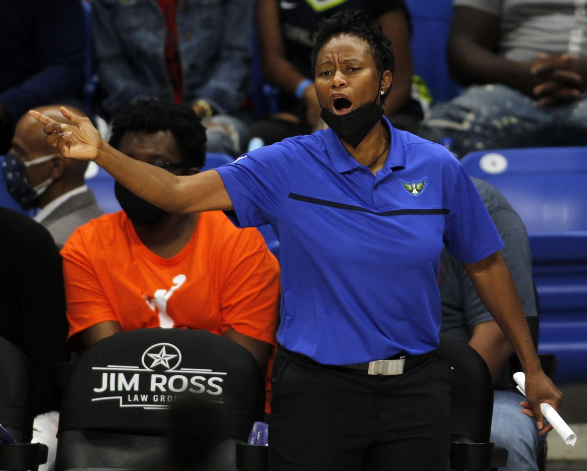 Dallas Wings head coach Vickie Johnson communicates with her players during first half action against the Indiana Fever. The Wings lost to the Fever 83-81. The Dallas Wings hosted the Indiana Fever for their WNBA game held at College Park Center on the campus of UT-Arlington on August 20, 2021.