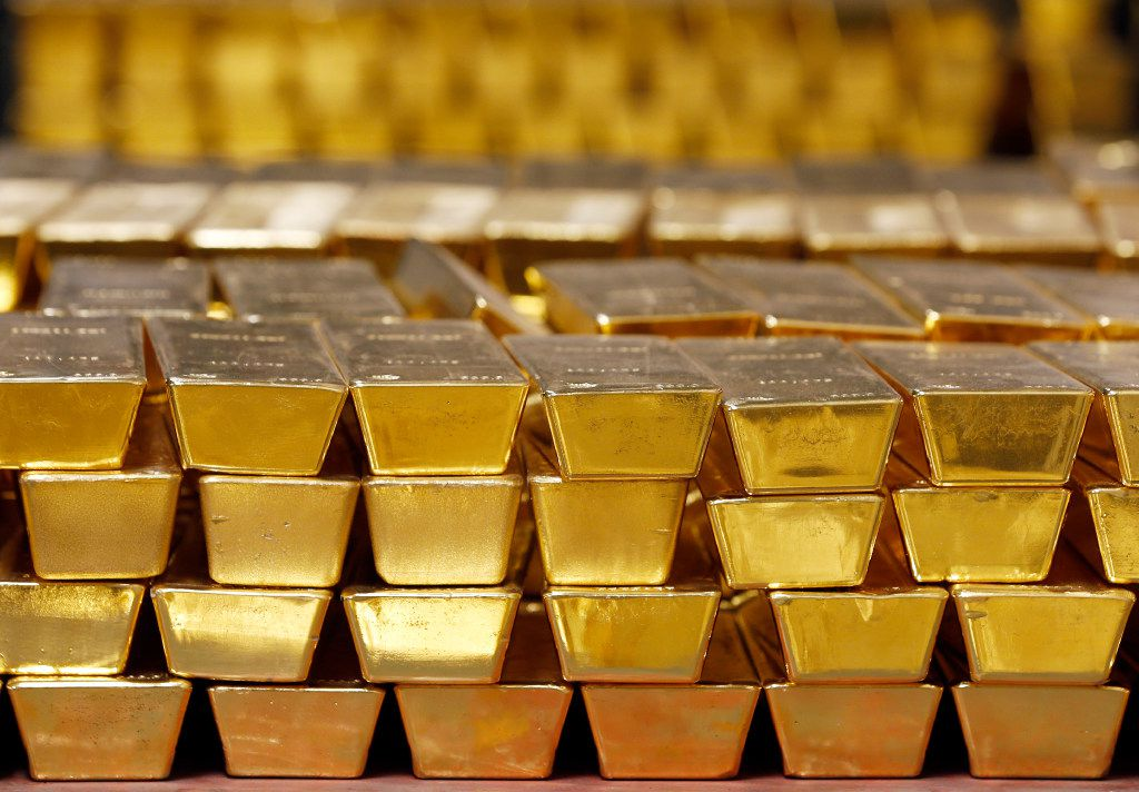 Gold bars stacked in a vault. (AP Photo/File)