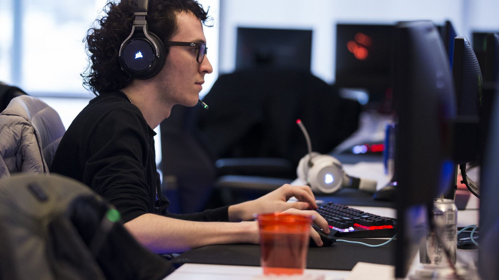 "Dallas Fuel's Zachary ""ZachaREEE"" Lombardo practices on Wednesday, January 29, 2020 at Envy Gaming headquarters in Dallas. (Ashley Landis/The Dallas Morning News)"