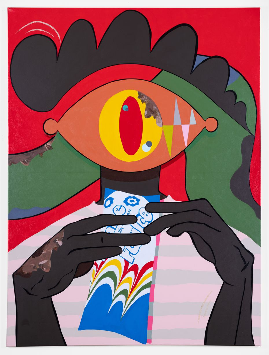 """In works like """"Red Settee,"""" Jeremiah Onifadé borrows themes and ideas from his childhood in Nigeria, his adulthood in the United States and his dreams, which he says come to him in vivid colors."""