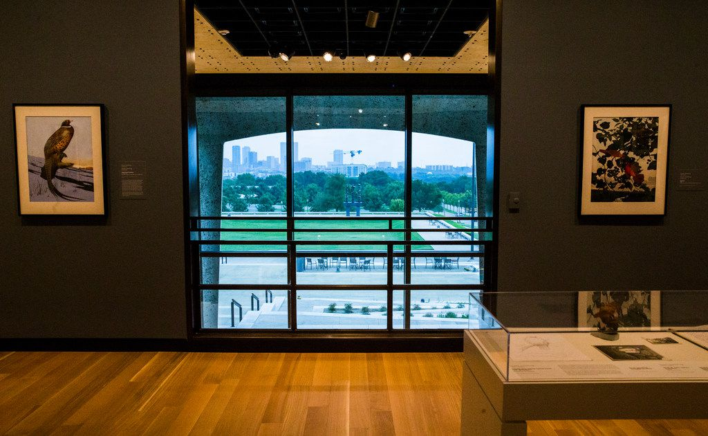 Downtown Fort Worth can be seen from the second floor Make it New gallery at the Amon Carter Museum of American Art.