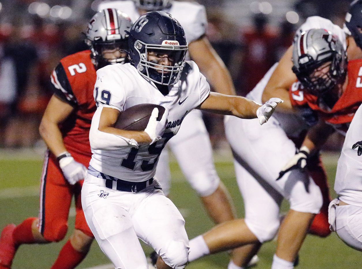 Flower Mound High School running back Cade Edlein (19) runs for a big gain during the first half as Flower Mound Marcus hosted Flower Mound High School in a district 6-6A football game at Marauder Stadium in Flower Mound on Friday night, September 24, 2021. (Stewart F. House/Special Contributor)